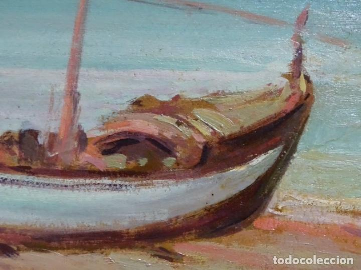 Arte: ÓLEO EN TABLEX DE JOAQUIM TERRUELLA MATILLA 1921. INFLUENCIA DE SU MAESTRO SANTIAGO RUSIÑOL. - Foto 6 - 261289530
