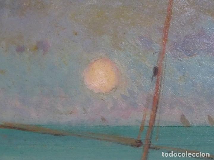 Arte: ÓLEO EN TABLEX DE JOAQUIM TERRUELLA MATILLA 1921. INFLUENCIA DE SU MAESTRO SANTIAGO RUSIÑOL. - Foto 8 - 261289530