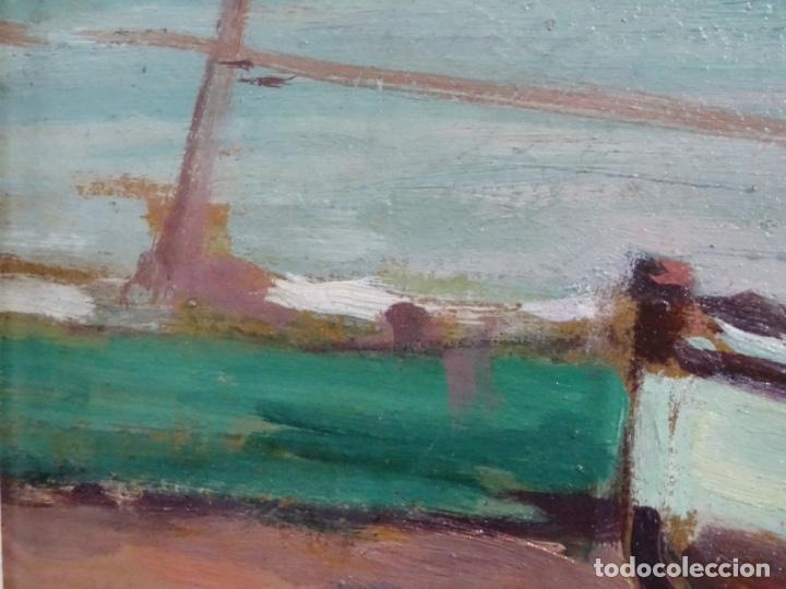 Arte: ÓLEO EN TABLEX DE JOAQUIM TERRUELLA MATILLA 1921. INFLUENCIA DE SU MAESTRO SANTIAGO RUSIÑOL. - Foto 9 - 261289530