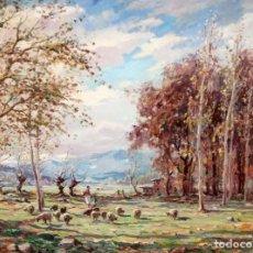 Arte: JOAQUIM MARSILLACH I CODONY (OLOT, GERONA 1905 - 1986) OLEO SOBRE TELA. PAISAJE. 89 X 116 CM.. Lote 261323080