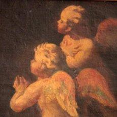 Arte: PAREJA DE ÁNGELES, OLEO SOBRE LIENZO. S.XVII.XVIII, POSIBLE LUCA GIORDANO O CIRCULO. PARA ESTUDIAR.. Lote 261819055
