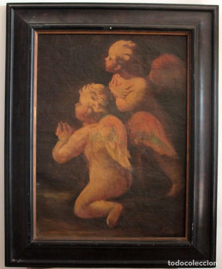 Arte: Pareja de ángeles, oleo sobre lienzo. s.XVII.XVIII, posible Luca Giordano o circulo. Para estudiar. - Foto 2 - 261819055