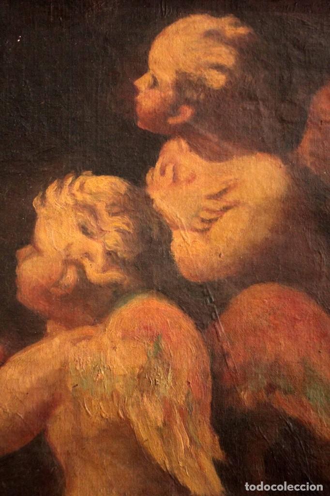 Arte: Pareja de ángeles, oleo sobre lienzo. s.XVII.XVIII, posible Luca Giordano o circulo. Para estudiar. - Foto 4 - 261819055