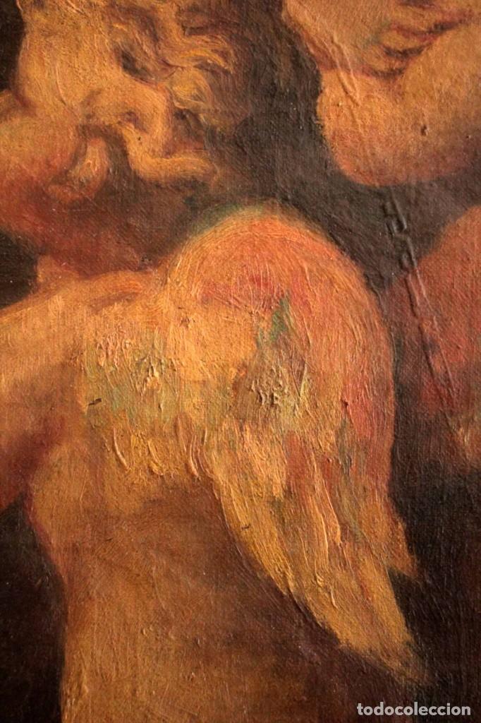Arte: Pareja de ángeles, oleo sobre lienzo. s.XVII.XVIII, posible Luca Giordano o circulo. Para estudiar. - Foto 5 - 261819055