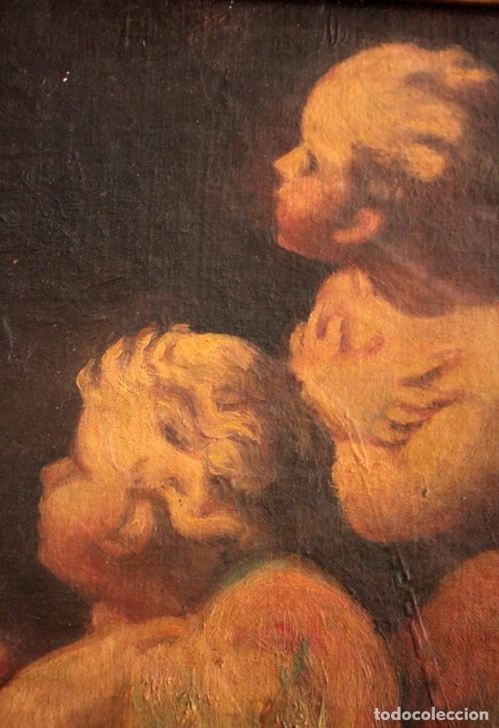 Arte: Pareja de ángeles, oleo sobre lienzo. s.XVII.XVIII, posible Luca Giordano o circulo. Para estudiar. - Foto 6 - 261819055