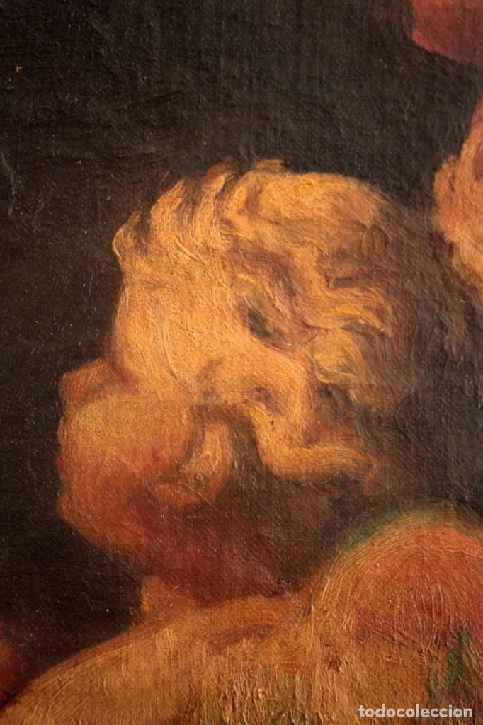 Arte: Pareja de ángeles, oleo sobre lienzo. s.XVII.XVIII, posible Luca Giordano o circulo. Para estudiar. - Foto 7 - 261819055