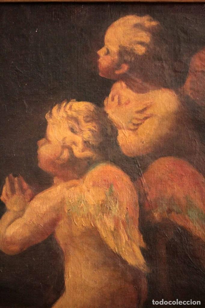 Arte: Pareja de ángeles, oleo sobre lienzo. s.XVII.XVIII, posible Luca Giordano o circulo. Para estudiar. - Foto 9 - 261819055