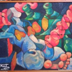 Arte: OLEO SOBRE TELA ARPILLA . FIRMADO. 56*48 CM. ESTILO CUBISTA. CIRCA 1960'S. Lote 261828930