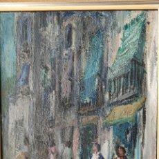 Arte: AGUSTÍ RIO NAVARRO (BARCELONA, 1923-1997) OLEO SOBRE LIENZO VISTA URBANA. Lote 261914425