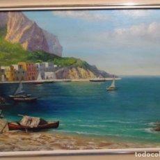Arte: GRAN ÓLEO EN TELA FIRMADO C. BRAVO. PAISAJE COSTERO.. Lote 262118315