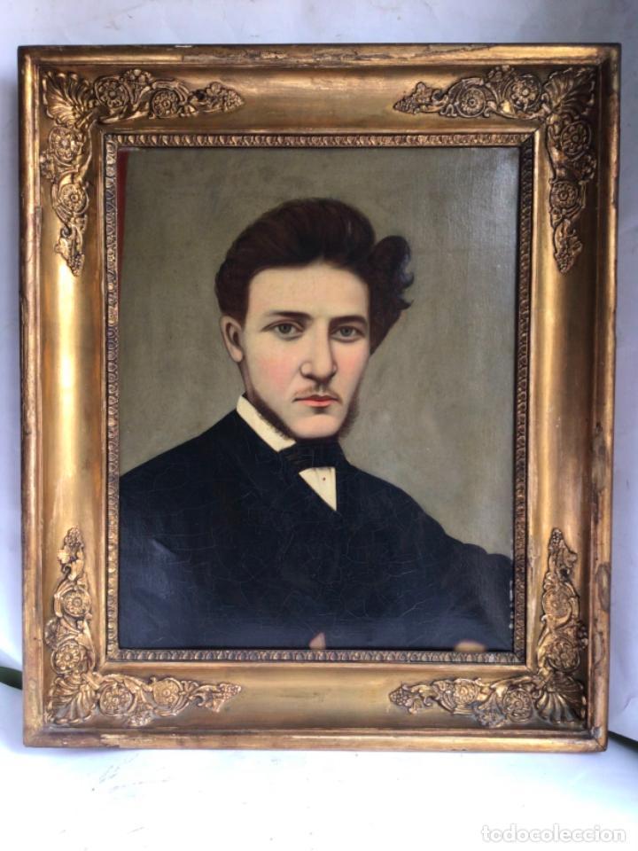 ANTIGUO RETRATO ORIGINAL , OLEO SOBRE LIENZO DEL SIGLO XIX , ENMARCADO DE EPOCA (Arte - Pintura - Pintura al Óleo Moderna siglo XIX)