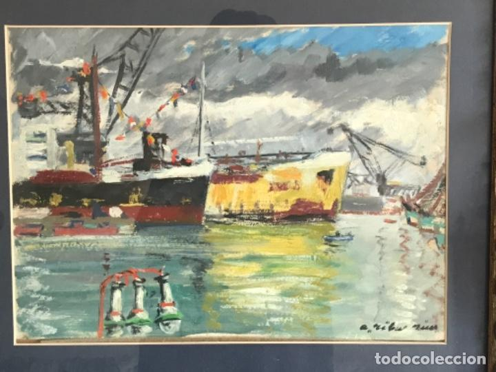 OLEO SOBRE CARTÓN DE RAMON RIBAS RIUS. PUERTO DE BARCELONA. (Arte - Pintura - Pintura al Óleo Contemporánea )