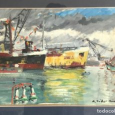 Arte: OLEO SOBRE CARTÓN DE RAMON RIBAS RIUS. PUERTO DE BARCELONA.. Lote 262171720