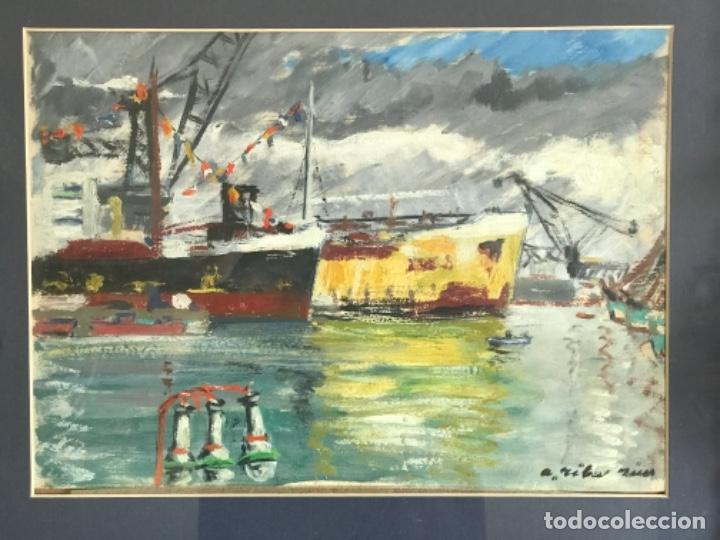 Arte: OLEO SOBRE CARTÓN DE RAMON RIBAS RIUS. PUERTO DE BARCELONA. - Foto 3 - 262171720