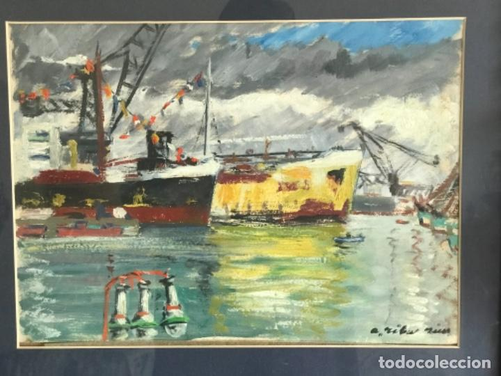 Arte: OLEO SOBRE CARTÓN DE RAMON RIBAS RIUS. PUERTO DE BARCELONA. - Foto 8 - 262171720
