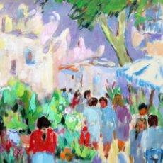 Arte: CARME ESPEL VIVES (BARCELONA, 1926 - 2021) OLEO SOBRE CARTON. LAS RAMBLAS DE BARCELONA. Lote 262180010
