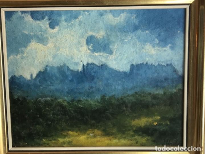 VISTA DE LA MONTAÑA DE MONTSERRAT OLEO SOBRE CARTÓN FIRMADO J.VALLE. (Arte - Pintura - Pintura al Óleo Contemporánea )