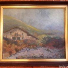 Arte: CUADRO PINTURA OLEO SOBRE LIENZO CASERIO EN BOLIVAR VIZCAYA FIRMADO JUAN JOSÉ IBARRA AÑO 1977. Lote 262291165