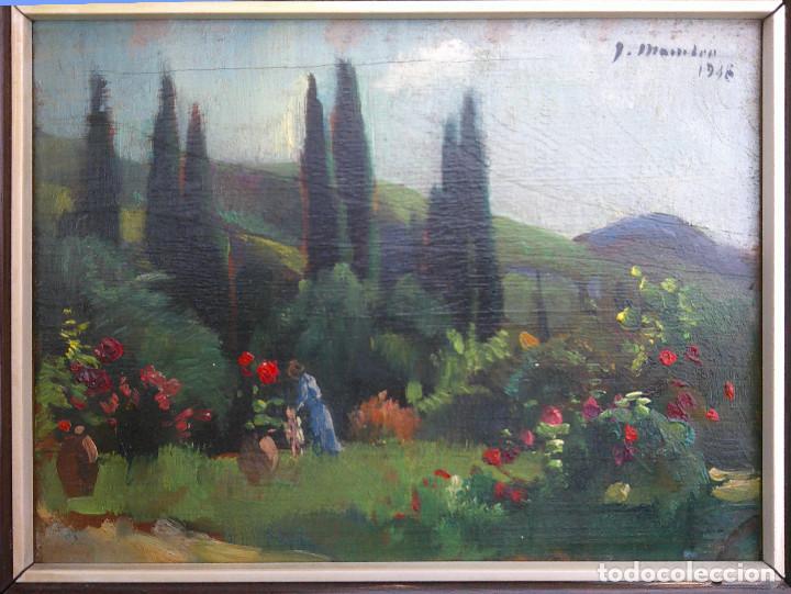 JOAQUIM MOMBRÚ I FERRER - JARDÍN CON FIGURAS- (Arte - Pintura - Pintura al Óleo Moderna sin fecha definida)