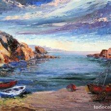 Arte: ROSA CERVERA GIRALT (PORT DE LA SELVA, 1912 - 1993) OLEO SOBRE TELA. VISTA DE UNA PLAYA. Lote 262405990