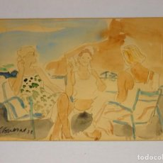 Arte: (M) FEDERICO LLOVERAS , ACURELA ORIGINAL CAFÈ EN UNA TERRAZA DE TOSSA , FIRMADO LLOVERÁS 78. Lote 262422935