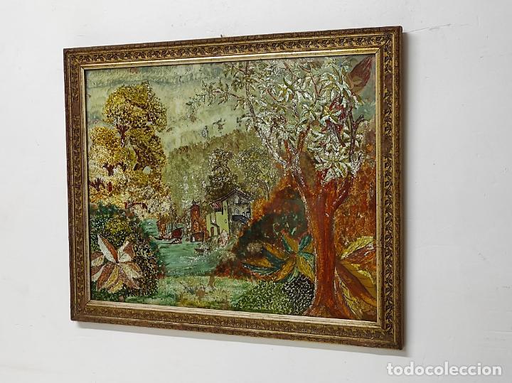 Arte: Bonito Paisaje - Óleo sobre Cristal - Marco en Estuco Dorado - Principios S. XX - Foto 2 - 262504905