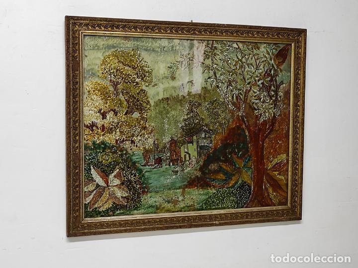 Arte: Bonito Paisaje - Óleo sobre Cristal - Marco en Estuco Dorado - Principios S. XX - Foto 4 - 262504905