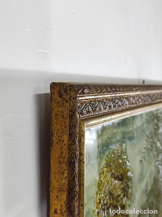 Arte: Bonito Paisaje - Óleo sobre Cristal - Marco en Estuco Dorado - Principios S. XX - Foto 5 - 262504905