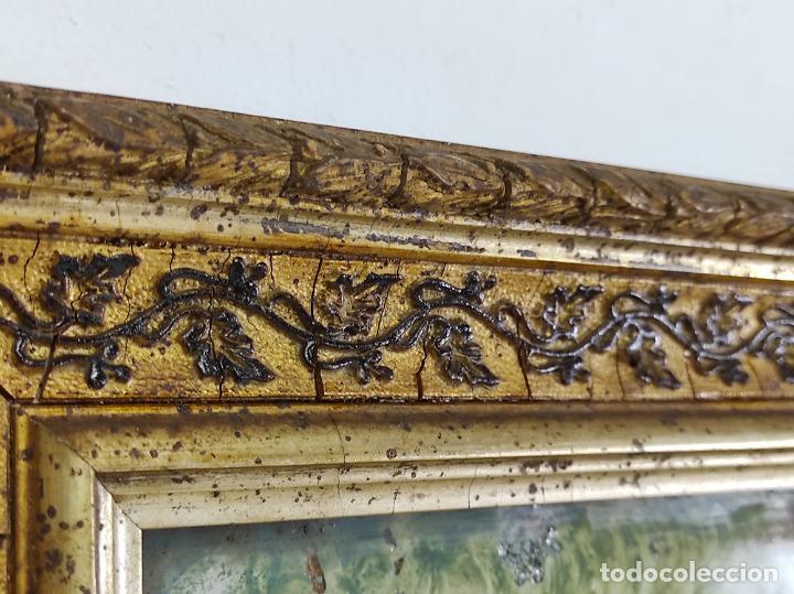 Arte: Bonito Paisaje - Óleo sobre Cristal - Marco en Estuco Dorado - Principios S. XX - Foto 6 - 262504905