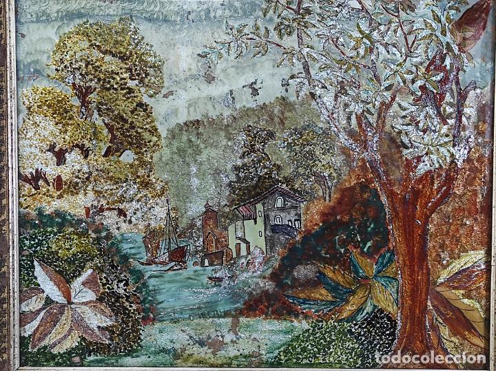 Arte: Bonito Paisaje - Óleo sobre Cristal - Marco en Estuco Dorado - Principios S. XX - Foto 9 - 262504905