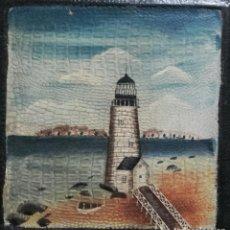 Arte: OLEO SOBRE CARTÓN, BEACH HOUSE, FARO EN EL MAR, S XIX/XX. Lote 262546565
