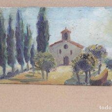 Arte: ANONIMO. OLEO SOBRE TABLA. PAISAJE CON ERMITA. Lote 262550720