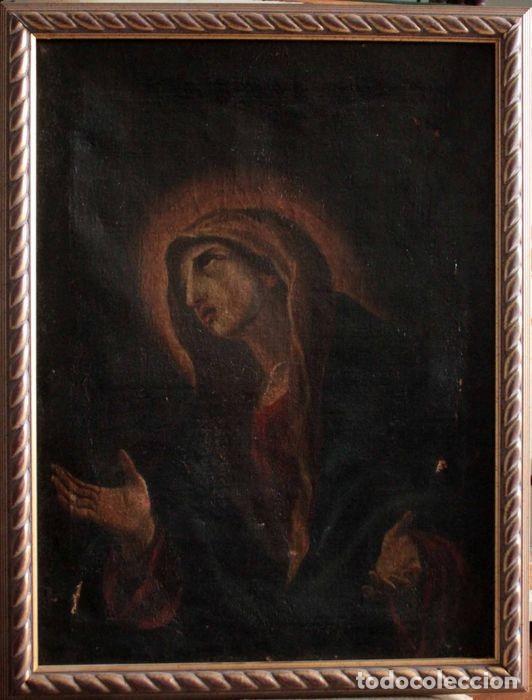 Arte: Escuela Española del s.XVIII - Virgen en oración. Oleo/lienzo 62x47cm(enmarcado) - Foto 4 - 262561485