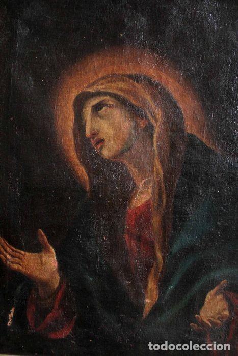 Arte: Escuela Española del s.XVIII - Virgen en oración. Oleo/lienzo 62x47cm(enmarcado) - Foto 7 - 262561485