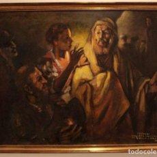 Arte: JOSE COLOMER - LA NEGACIÓN DE SAN PEDRO, TRAS REMBRANDT. OLEO / LIENZO 100X80(ENMARCADO). Lote 262563160