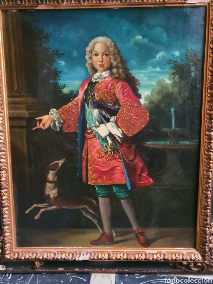 Arte: bello retrato Fernando VI. 114cm por 100cm. S. XVIII. circulo Ranch. - Foto 3 - 262601390