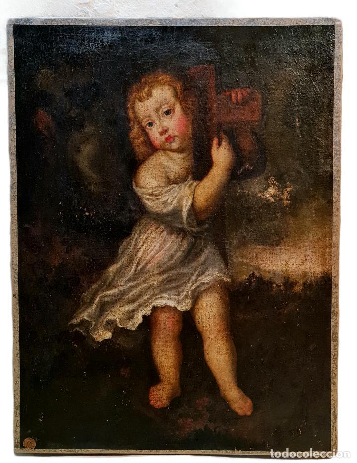 NIÑO JESÚS PORTANDO CRUZ, ÓLEO. CHRIST CHILD BEARING CROSS. CA 1680. SPANISH SCHOOL. OIL ON CANVAS. (Arte - Pintura - Pintura al Óleo Antigua siglo XVII)