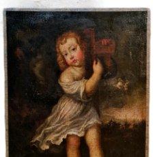 Arte: NIÑO JESÚS PORTANDO CRUZ, ÓLEO. CHRIST CHILD BEARING CROSS. CA 1680. SPANISH SCHOOL. OIL ON CANVAS.. Lote 262623525