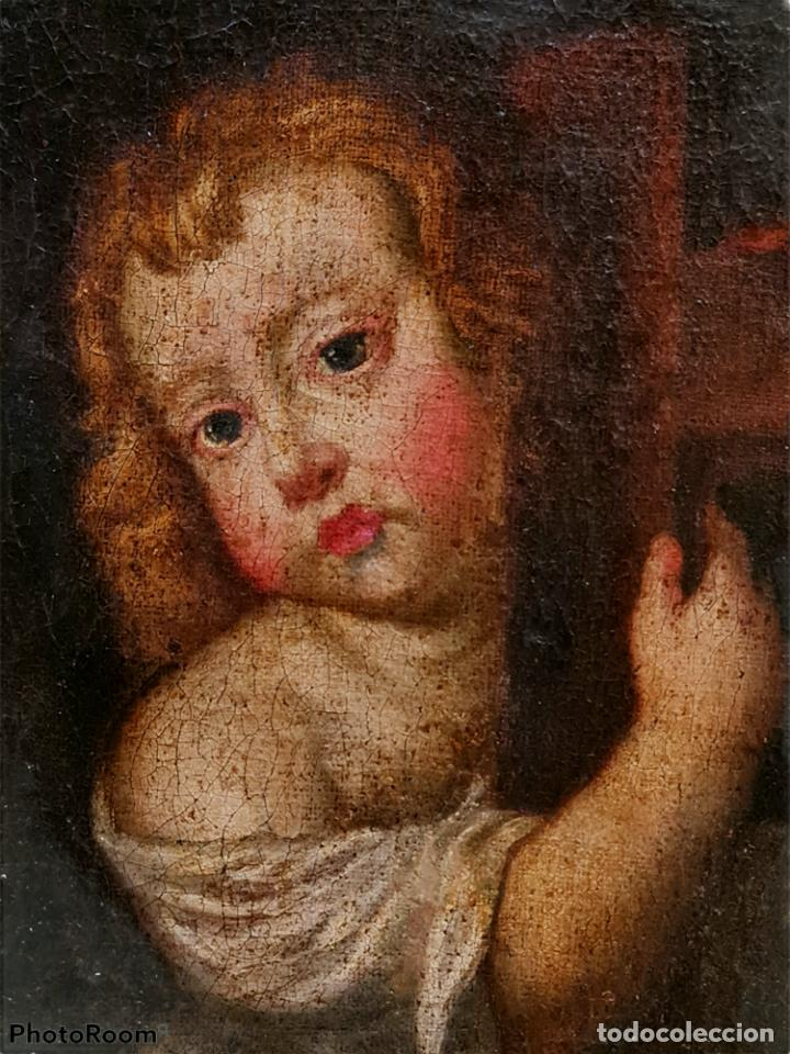 Arte: Niño Jesús portando Cruz, óleo. Christ Child bearing cross. ca 1680. Spanish school. Oil on canvas. - Foto 2 - 262623525