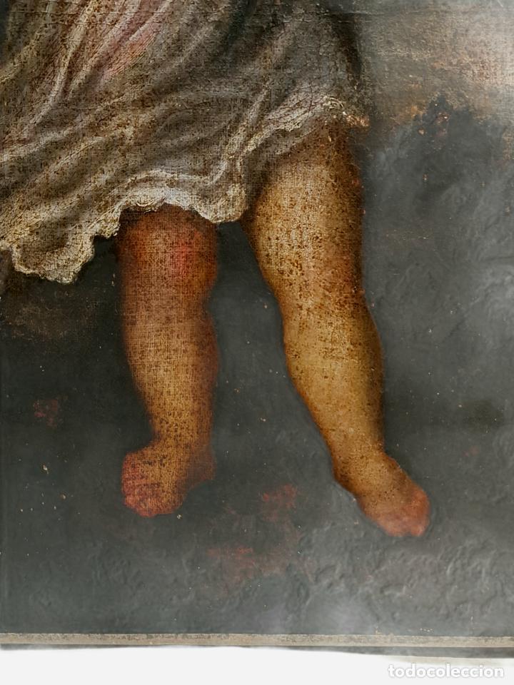 Arte: Niño Jesús portando Cruz, óleo. Christ Child bearing cross. ca 1680. Spanish school. Oil on canvas. - Foto 5 - 262623525