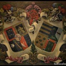 Arte: GRAN PANOPLIA DE ESCUDOS HERALDICOS, IMPRESIONANTE CALIDAD. Lote 262646375
