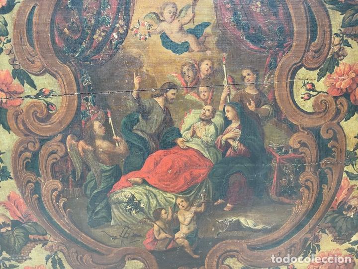 Arte: Oleo sobre tabla:La muerte de San José.Siglo XVIII - Foto 3 - 262689910