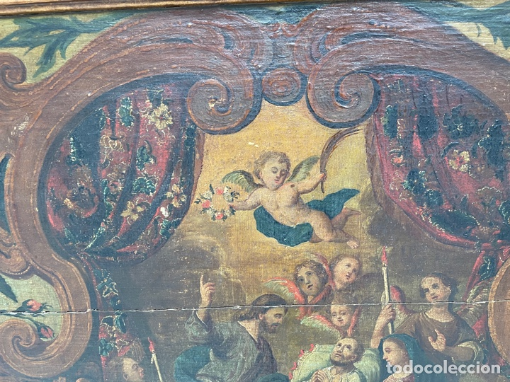 Arte: Oleo sobre tabla:La muerte de San José.Siglo XVIII - Foto 4 - 262689910
