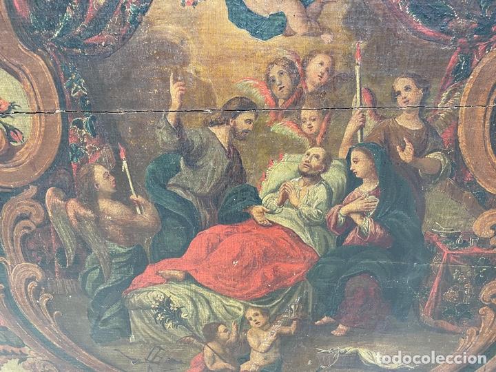Arte: Oleo sobre tabla:La muerte de San José.Siglo XVIII - Foto 5 - 262689910