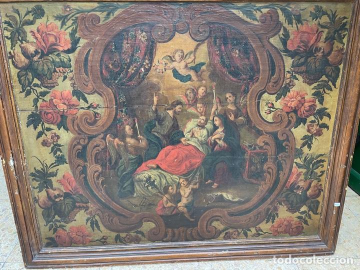 OLEO SOBRE TABLA:LA MUERTE DE SAN JOSÉ.SIGLO XVIII (Arte - Pintura - Pintura al Óleo Antigua siglo XVIII)