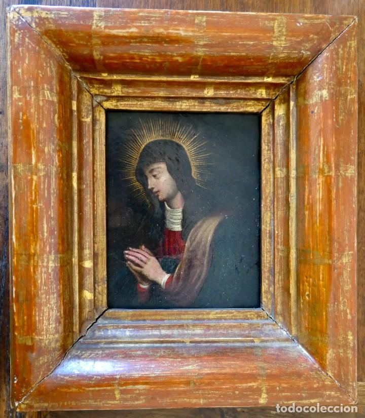 ELEGANTE ÓLEO SOBRE COBRE DE VIRGEN- S XVIII (Arte - Pintura - Pintura al Óleo Antigua siglo XVIII)