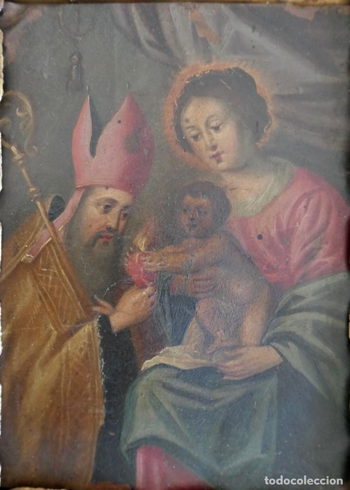 Arte: INTERESANTE OLEO SOBRE COBRE- ESCENA RELIGIOSA- SIGLO XVIII - Foto 2 - 262759085