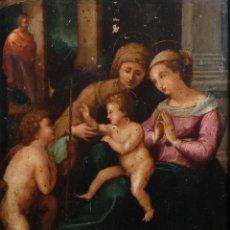 Arte: ÓLEO SOBRE COBRE VIRGEN CON NIÑO Y SAN JUANITO SIGLO XVI-XVII. Lote 262800110
