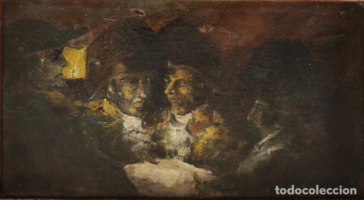 PERSONAJES MILITARES GOYESCOS. ÓLEO SOBRE LIENZO. SIGLO XIX. MIDE 38 X 21 CM. (Arte - Pintura - Pintura al Óleo Moderna siglo XIX)