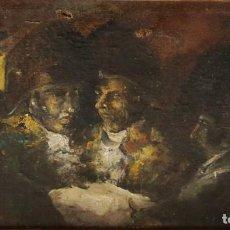 Arte: PERSONAJES MILITARES GOYESCOS. ÓLEO SOBRE LIENZO. SIGLO XIX. MIDE 38 X 21 CM.. Lote 262809320